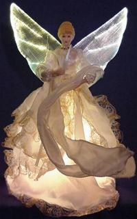 white dress fiber optic tree top angel